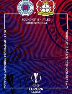 Rangers Football Club Matchday Programme – Rangers v Leverkusen – 12 March 2020