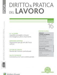 Diritto e Pratica del Lavoro N 16 – 18 Aprile 2020